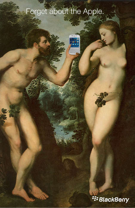 Sinful Smartphone Ads - This Blackberry Ad Series Replaces Adam and Eve
