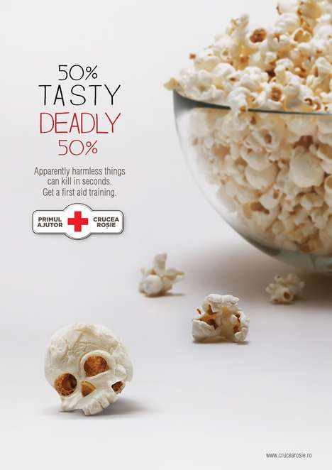 Deadly Popcorn Ads - The Romanian Red Cross Campaign Shows That the Simplest Things Can Kill