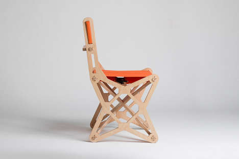 Geometric Jigsaw Chairs - Konstantin Achkov Models These Foldable Furniture Chairs After Puzzles