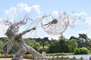 Robin Wight Creates Gigantic Fairy Sculptures Out of Mesh Wire