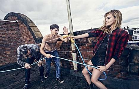 Mischievous Fashion Ads - The Pepe Jeans Fall 2014 Campaign Stars Top Model Cara Delevingne