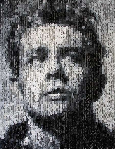 Celebrity Button Portraits - Augusto Esquivel Creates Celebrity Portraits Out of Buttons