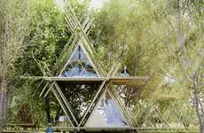Ecological Treehouse Hotels - Penda's AIM Legend of Tent Entry is Full of Triangular Bamboo Details