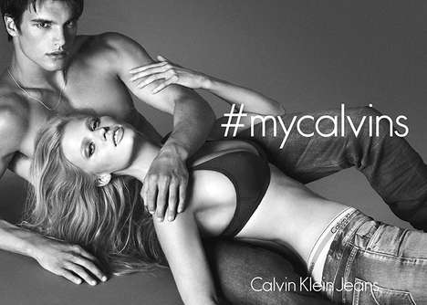 Sensual Hashtag Fashion Ads - The Calvin Klein Underwear Fall 2014 Campaign Stars Lara Stone