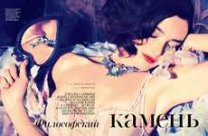 Bejeweled Burlesque Editorials - The Vogue Russia Photoshoot Stars Charlotte Le Bon