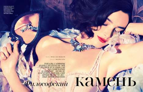 Bejeweled Burlesque Editorials - The Vogue Russia August 2014 Photoshoot Stars Charlotte Le Bon