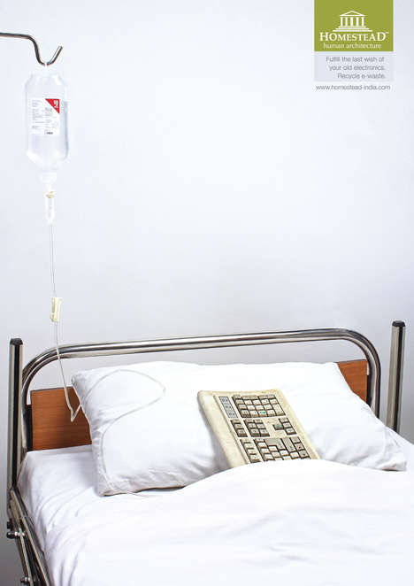 Dying Electronic Ads - These E-Waste Recycling Ads Show Keyboards and USBs on Sick Beds, Near Death