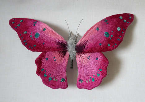 Lifelike Butterfly Sculptures - Artist Yumi Okita are Made Out of Colorfully Embroidered Textiles