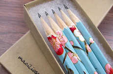 Botanical Stationary Accessories - Etsy's Maoiliosa Shop Creates Paper Wrapped Pencil Designs