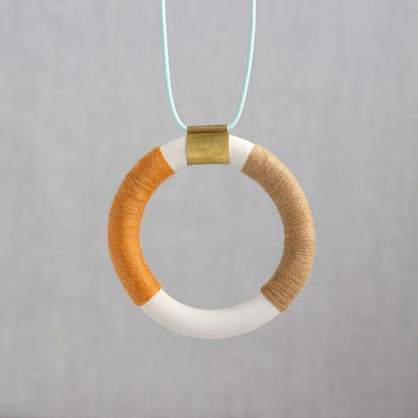 Tribal Ceramic Jewelry - Pigeon Toe Jewelry Beautifully Pairs Textiles and Porcelain