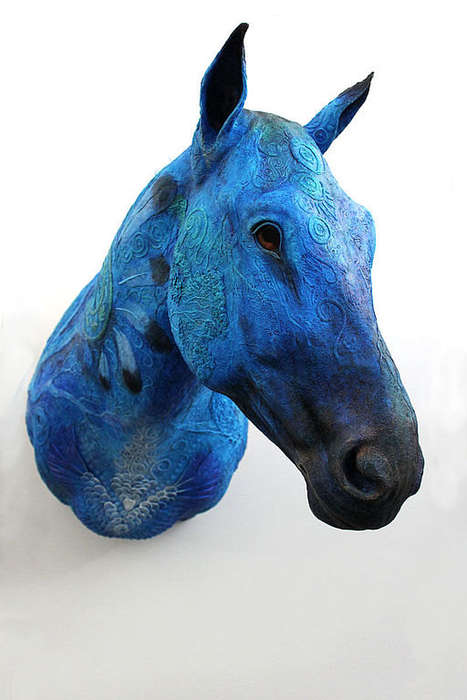 Whimsical Faux Taxidermy Decor - This Fantasy Horse Sculpture is Adorned with Orante Motifs