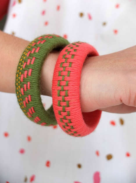 Bohemian Woven Bangles - These Homemade Bangles are Made Using Tapestry Thread