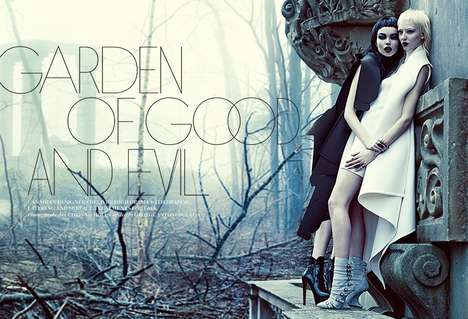 Gothic Twin Editorials - The FASHION Magazine August 2014 Photoshoot Stars Meagan and Gaby
