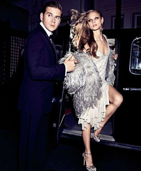 Lavish Evening Editorials - Anna Selezneva Goes on a Date for the Harper