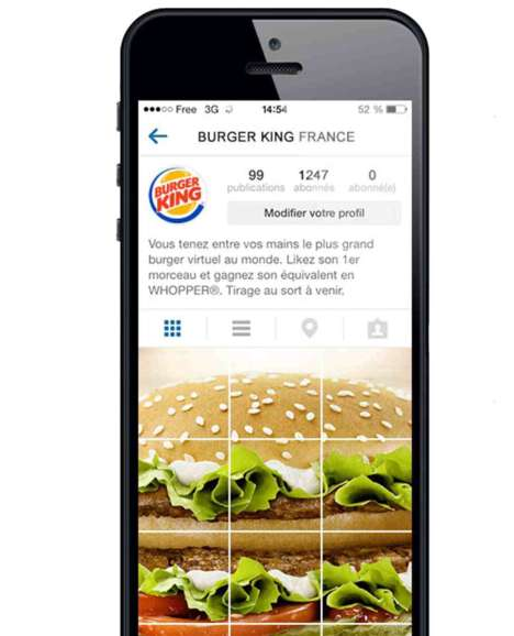 Mobile Burger Collages - Burger King France Displays One of the Creative Uses of Instagram