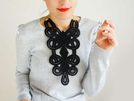 Netted Crochet Accessories - This Bib Statement Necklace from Etsy