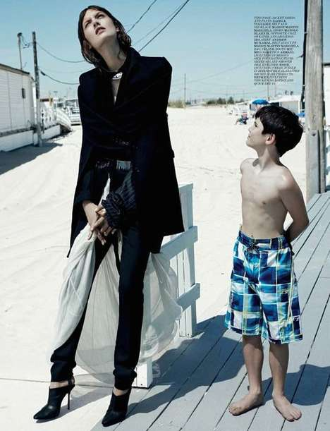 Bizarre Beachside Editorials - The Interview Magazine Beachin Photoshoot is Offbeat