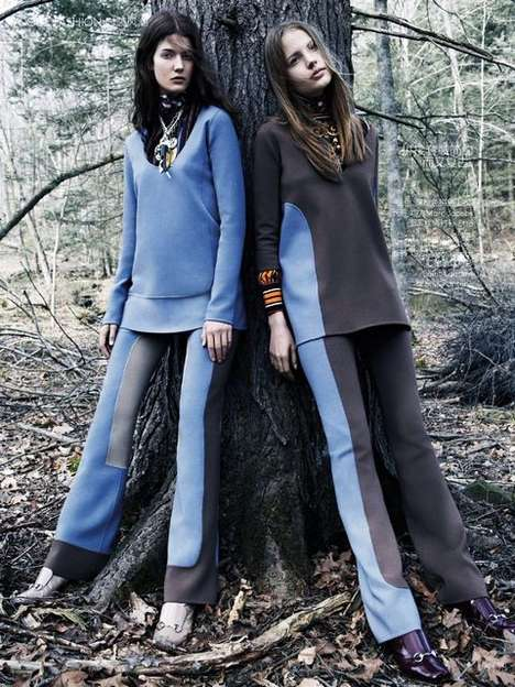 Fierce Forest Fashion Editorials - The Vogue China August 2014 Into the Wild Photoshoot is Wooded