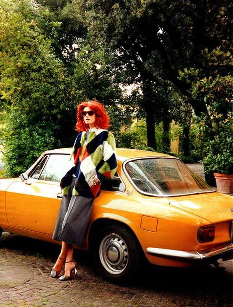 Retro Redhead Editorials - The W August 2014 Testa Rossa Photoshoot is a 70s Throwback