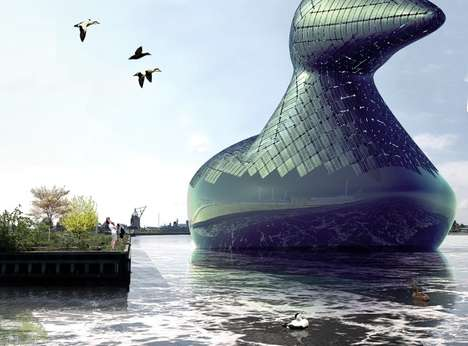 Energy-Generating Water Fowls - The Energy Duck is a Public Art Installation and Power Plant