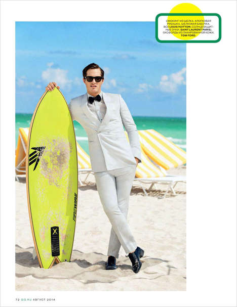 Dapper Vacationer Editorials - Ollie Edwards Stars in GQ Russia's Cover Story