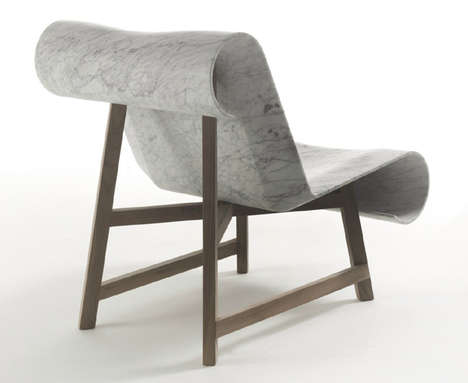 Medieval Marble Chairs - Curl by Riva 1920 is a Modern Scroll-Like Piece of Furniture