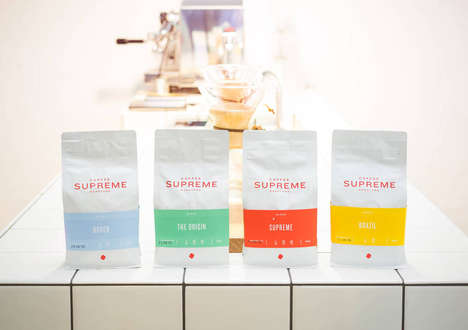 Banded Coffee Bags - The Colorful Coffee Bag Designs for Coffee Supreme Are Vibrant and Minimal