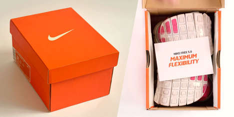 Folded Footwear Shoeboxes - This Ultra Small Shoebox Holds the Flexible Nike Free 5.0 Sneakers