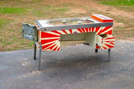 Pinball Machine Desks - Artist Tim Sway Upcycles a Classic Arcade Console into a Piece of Furniture