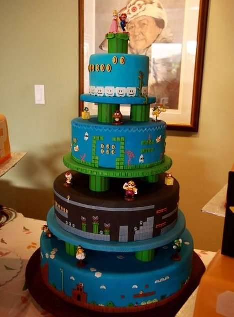 Gamified Character Cakes - This Super Mario Wedding Cake Design Stays True to the Classic Video Game