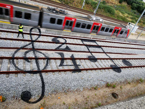 Train Track Graffiti - Artur Bordalo Covers Train Tracks with Bright Graffiti Art