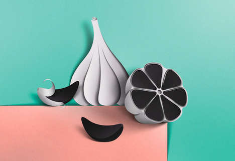 Corrugated Culinary Illustrations - Eiko Ojala Turns Food Produce Into a Series of Paper Artwork