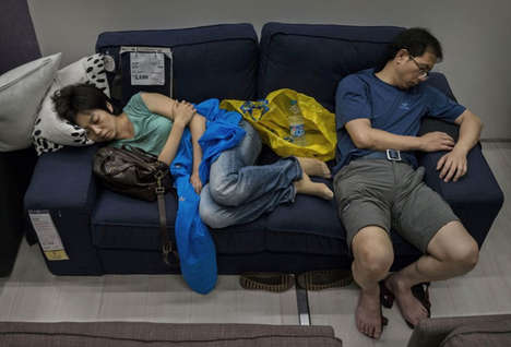 Furniture Store Snooze Photography - Kevin Frayer Photographed Customers Sleeping in an Ikea Store