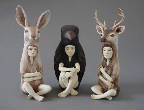 Meditative Animal Hybrids - Crystal Morey Created Ceramic Sculptures of Human-Animal Hybrids