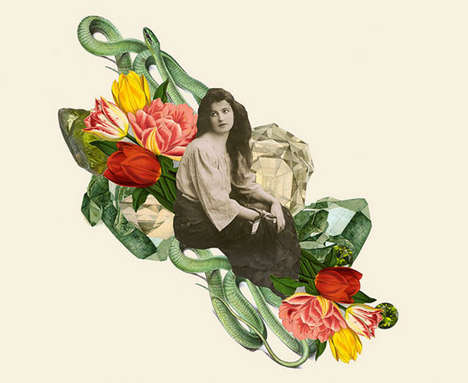 Botanical Babe Collages - Collage Artist Clare Celeste Börsch Blends Vintage and Modern Imagery