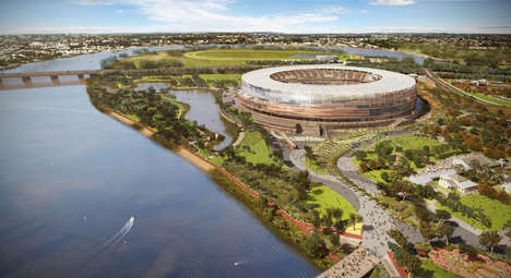 Bronze Facade Stadiums - The Perth Stadium Takes on a Reflective Shield
