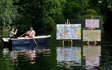 Lakeshore Art Shows - Sony's Outdoor Art Show Had People in Canoes Try to Spot Waldo on a Canvas