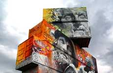 Godly Urban Graffiti - Pichi & Avo's Shipping Container Art Features Oversized Godly Imagery
