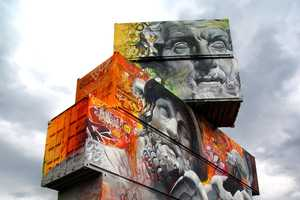 Pichi & Avo's Shipping Container Art Features Oversized Godly Imagery