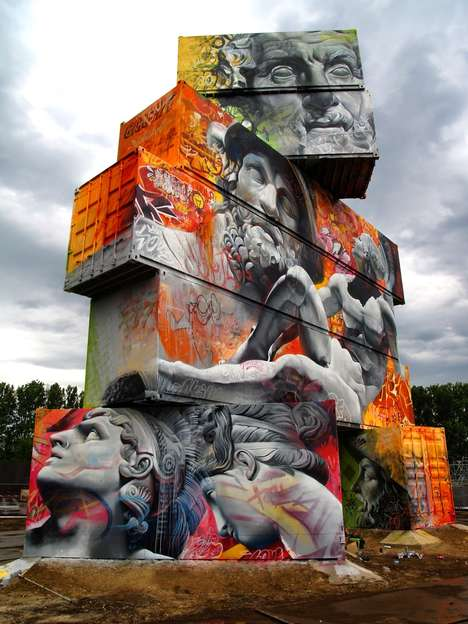 Greek God Graffiti - Pichi and Avo Painted Greek Gods and Graffiti On Shipping Containers
