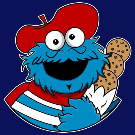Parisian Cartoon Illustrations - This Cookie Monster Shirt Features a French Version of the Muppet