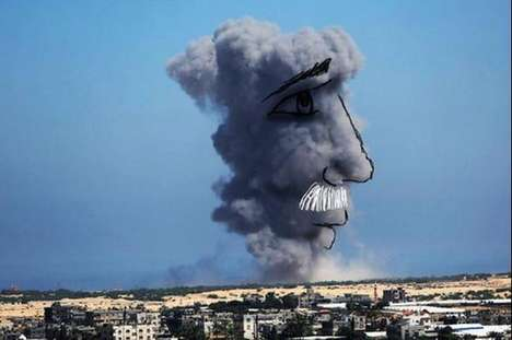 Childlike Cloud Art - Palestinian Belal Khaled Creates New Images Using Smoke From Gaza Airstrikes