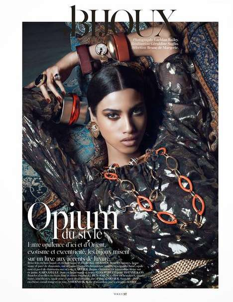 Gigantic Gemstone Editorials - The Vogue Paris Opium Du Style Photoshoot is Crammed with Jewelry