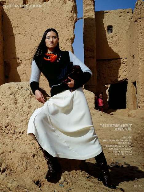 Modern Moroccan Fashion Editorials - The Vogue China Impressions of Morocco Photoshoot is Foreign
