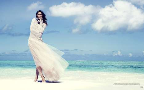 Unusually Upscale Beachside Editorials - The Fashion Magazine Into the Blue Photoshoot is High End