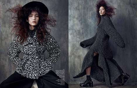 Gothic Revival Editorials - The Vogue China August 2014 Soft Shapes Photoshoot Introduces Rebellion