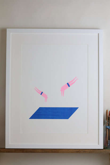 Minimalist Swimmer Illustrations - Timothy Hunt's Divers Print is a Modern Art Lover's Dream