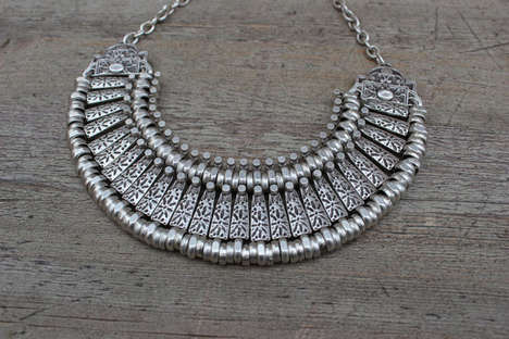 Modernized Ethnic Accessories - This Silver Collar Necklace from Etsy