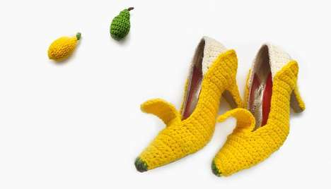 Crochet Fruit Footwear - These Knitted High Heels Look Like Various Fruits