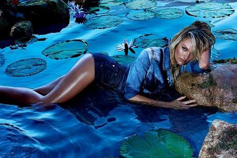 Sultry Edenesque Campaigns - The Candice Swanepoel Forum Ads are Provocative and Psychedelic